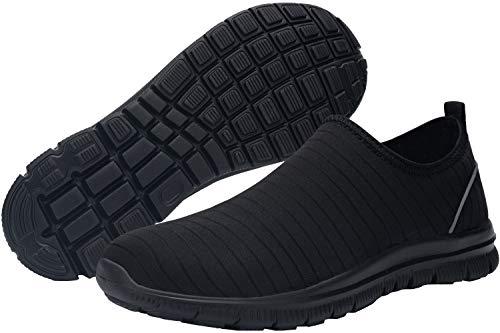 DYKHMATE Zapatillas de Seguridad Mujer Secado rápido Hidrófugo de Agua Zapatillas de Trabajo Ligeras Transpirable Reflectante con Punta de Acero Calzado de Seguridad (Negro,38 EU)