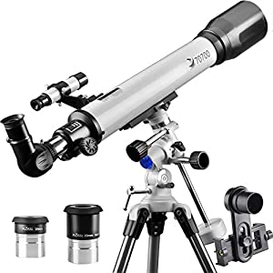 Telescope 70EQ Refractor Scope-Professional 70mm Aperture and 700mm Focal Length for Student Kids Adults Beginners-Come with a Smartphone Adapter by Landove
