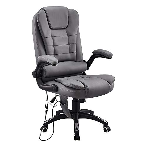 High Back Executive Office Chair with 6 Point Massage Comfy, Faux Leather Extra Padded Swivel Computer Desk Chair, Home Office Furniture (Grey)