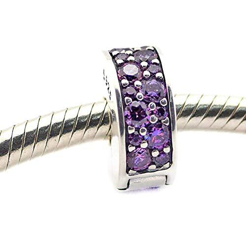 PANDOCCI Europeo Clip de Bricolaje Elegancia Brillante, de Lujo CZ púrpura 100%...