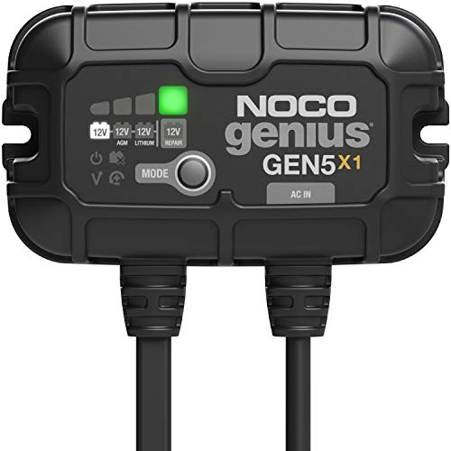 NOCO Genius GEN5X1, 1-Bank, 5-Amp (5-Amp Per Bank) Fully-Automatic Smart Marine Charger, 12V Onboard Battery Charger, Battery Maintainer and Battery Desulfator with Temperature Compensation
