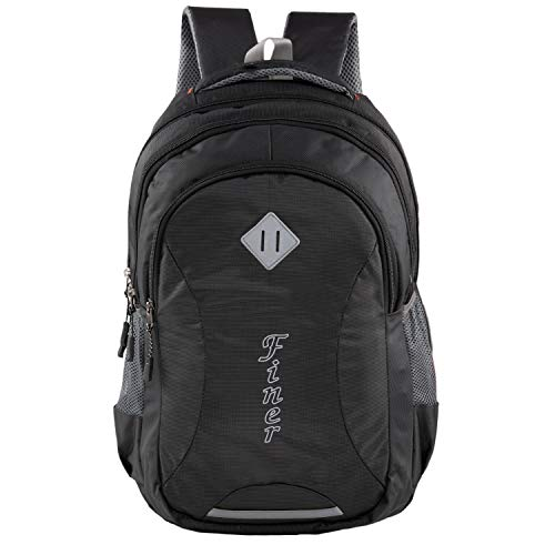 Finer Casual Backpack|Soft College School Bags for Girls Boys Women|Travel Shoulder Bagpacks Waterproof|Travel Bags|Mens Fits Laptop & Notebook| 27L with raincover |Black