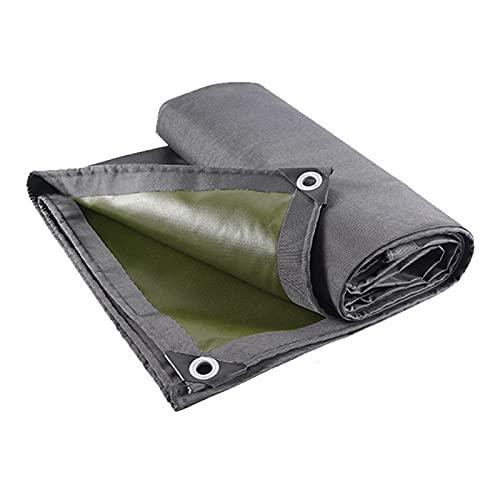 Lonas Cubierta de Lona de Poliéster Reversible Resistente, Lona Impermeable, Resistente a los Rayos UV, a Prueba de Roturas, con Ojales a Prueba de Herrumbre y Bordes Reforzados, Verde Gris