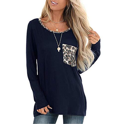 Frauen Winter Sweatshirt,Evansamp Leopard-Taschen-Oberseiten-Kurze/Lange Hülsen Der Dame V Ansatz-T-Shirt Beiläufige Grundlegende T-Stücke(Navy,XL)