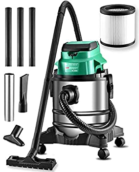 KIMO 20V Wet/Dry Shop Vac Cordless Brushless 5.2 Gallon Fireplace Vacuum/Blower with Battery & Charger Lightweight Washable Filter Strong Suction Pellet Stove Vac for Fireplace Home