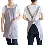 Amytalk Japanese Linen Cross Back Aprons for Women Men Kitchen Cooking with Pockets for Baking Painting Gardening Cleaning Kitchen Cooking Grey S Size