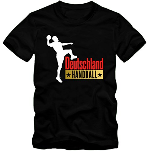 Herren T-Shirt Handball Deutschland WM Fan Tee S-3XL (XL, Schwarz)