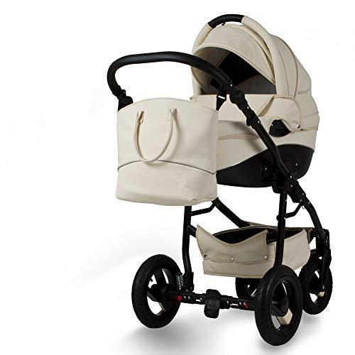 Lux4Kids Kinderwagen 3in1 2in1 Isofix Konfigurator Farbwahl Buggy Autositz Nem Kunstleder Beige Eco-02 2in1 ohne Babyschale