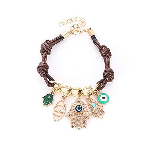 Diseño tejido hecho a mano pulseras de ojo malvado de Fátima cadena de cuerda brazalete con dije de palma para joyería de mujer
