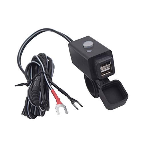 shiqi Puerto USB Dual 12V-24V Moto Impermeable Motorista Manillar Adaptador de Cargador de alimentación Sotubería Ajuste para teléfono GPS MP4