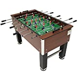 Sunnydaze 55-Inch Faux Wood Foosball Table with Folding Drink Holders,...