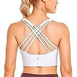 CRZ YOGA Sujetadores Deportivos Largos con Tiras para Mujer Sujetadores Deportivos Acolchados sin Cables para Mujer Blanco S