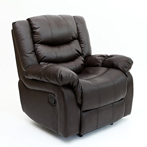 Seattle Bonded Leather Recliner Armchair Sofa Home Lounge Chair Reclining Gaming (Brown)