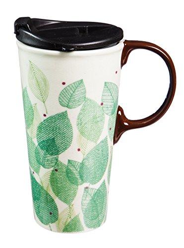 Cypress Home Ceramic Leaves of Lain Travel Coffee Mug, 5.31 x 3.46 x 7.08, Multicolor