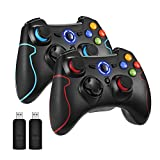 REDSTORM Mando Inalámbrico, 2 Paquetes para PC, Gamepad Controlador USB para PS3 / Android/Windows con Vibración Dual, Función Turbo