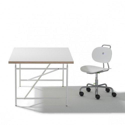 Set Kinderschreibtisch Eiermann + Stuhl Turtle - Schreibtisch Tischplatte 120 x 70 cm weiß und Gestell weiß + Drehstuhl Turtle weiß - Richard Lampert Möbel