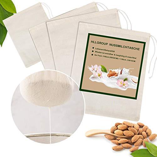 HLLGROUP 4 Stück Mandel Nussmilchbeutel Käsetuch Filterbeutel, 100% Natürliche Baumwolle Nussmilch Sieb Musselin Beutel Mesh Einkaufstüten für Joghurt Kaffee Tee Fruchtsaft Weinzubehör