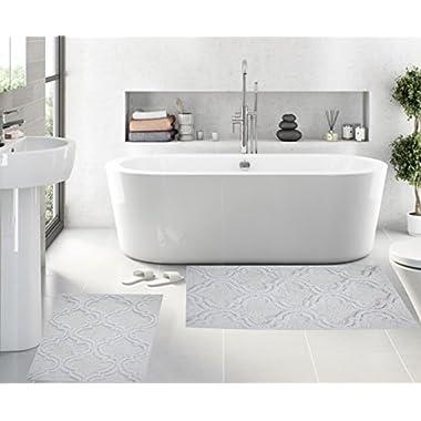Set of 2 Bath Rugs - 100% Cotton 17  x 24  Trellis Design Bathmat - By Queenzliving (WHITE)