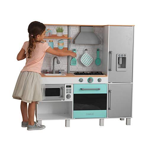 KidKraft- Gourmet Chef Cocina de juguete de madera con máquina de hielo, Color Gris (53421)
