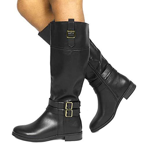 Dasongff Stiefel Damen Leder Flach Reißverschluss Overknee Langschaft Stiefel Winter Reitstiefel Casual Elegante Schuhe