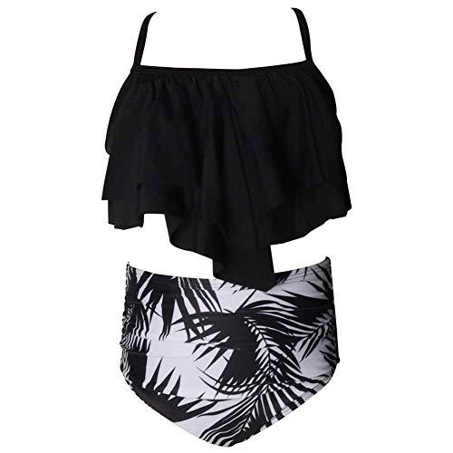 LPATTERN Kinder Mädchen Zweiteilige Bikini Set Retro Bademode Vintage Badeanzug High Waist Badebekleidung mit Blumenmuster( Oberteil+ Höschen, Schwarz+ Schwarz-Weiß Blatt, 164(12-14 Jahre)