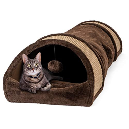 Large Cozy Cat Tunnel with Sisal Scratch Pads - Cat Toy Tube Doubles as Soft, Warm Bed, Hideaway, and Cat Scratcher (for Kittens, Rabbits and Small Dogs)