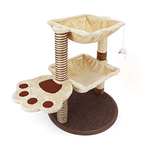 Cat Post and Scratcher Tree - Cat Tree Cradle Bed with Natural Sisal, Cat Scratching Post Tree With Hammock for Large Adult Cat, Cat Scratching Post Carpet Furniture, Cat Activity Trees for Indoor Cat