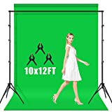 AFHT 10 x 12 ft Green Screen Backdrop with Stand,Green Screen Kit with 8.5 x 10 ft Stand,Chromakey Green Screen Background