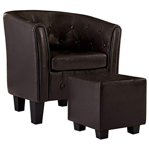 vidaXL Sessel mit Fußhocker Clubsessel Loungesessel Cocktailsessel Relaxsessel Bar Stuhl Sofa Büro Möbel Polstersessel Braun Kunstleder