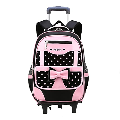 Caki Sweigo Cute Princess Backpack Bowknot Primary BookBag Polka Dot Elementary Daypack Carry-on Travel Luggage Rucksack for Girls