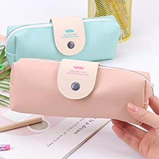 GOUWEI 1PC Korean Candy Color Waterproof Pu Leather Pencil Case Girl Stationery Escolar School Supplies 2 Colors Available