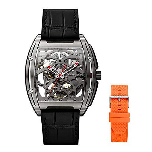 Orologio CIGA Design Watches Automatico Uomo Orologi con Cassa in Titanio Cinturino in Silicone/Pelle Meccanici Analogici Orologi da Polso Impermeabile 30m
