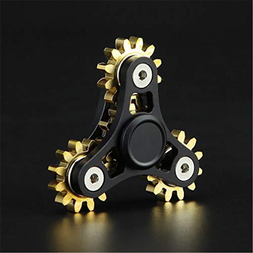 Khosd Nuevos Engranajes Fidget Spinner Juguetes Metal Latón Engranaje Dedo Spinner Metal Spinner De Mano De Juguete EDC Spinning Top Alivio del Estrés para ADHD (Negro)