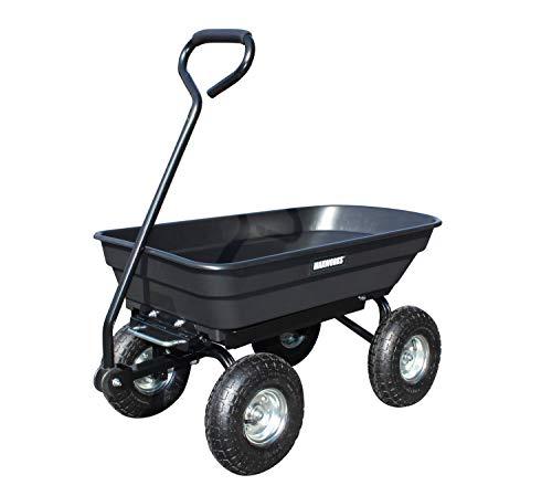 MaxWorks Heavy Duty Garden Dump Cart with Steel Frame and Pneumatic Wheels, Black