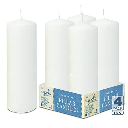 Hyoola Weiß Stumpenkerzen 76 X 228 mm - 4 Pack - 142 Stunden Brenndauer - Unparfümiert Groß Stumpen Kerzen