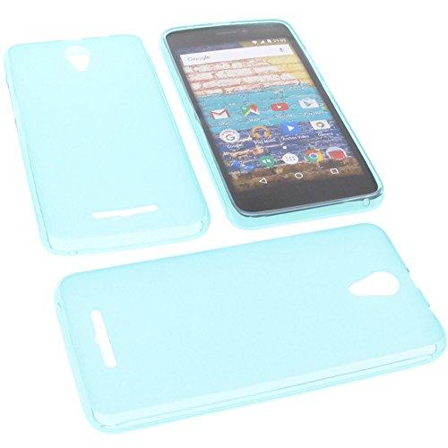 foto-kontor Tasche für Archos 50f Neon Gummi TPU Schutz Handytasche blau