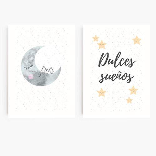 SARIERA® Juego de 2 láminas 'Dulces sueños para todos' para habitación infantil – decoración dulce para bebés, niñas, niños – sin marco