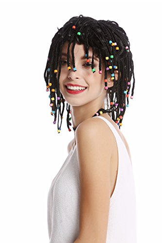 WIG ME UP ® - 90834-ZA103 Peluca Mujer Hombre Rayas Trenzado Trenzas con Perlas Negro Afro Reggae Caribe Gigolo Hippie