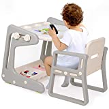 Easel for Kids Art Easel for Toddlers with Magnetic Whiteboard & Pen, Height Adjustable Drawing Board Toys Set with Chair, Convertible Study Table & Activity Table for 1-7 Years Old Boys Girls