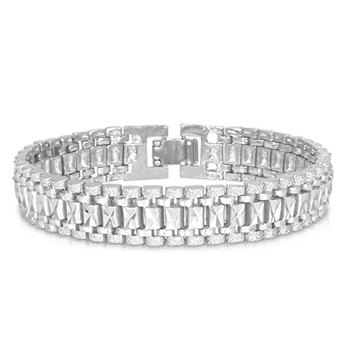 U7 Men Wrist Chain Bracelet Platinum Plated 12mm Wide Link Bracelets 21CM