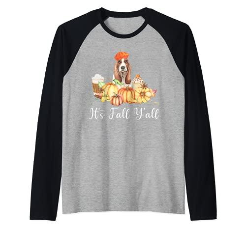 It's Fall Y'all Funny Dog Lover Basset Hound Autumn Pumpkin Camiseta Manga Raglan