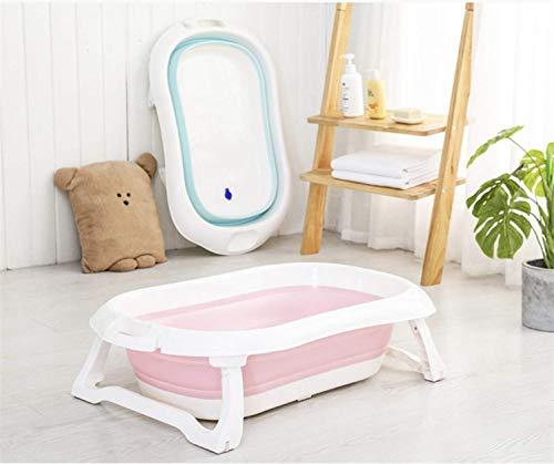 RHP Vasca da bagno per neonati ergonomica, antiscivolo, in plastica, pieghevole, 3 colori (rosa)