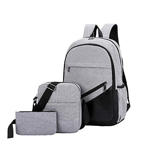 DKLGH 3 set Anti Theft Backpack Men Women Casual Backpack Travel Laptop Backpack School Bag-gray