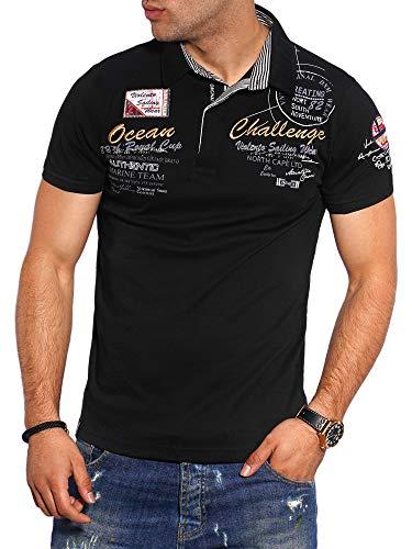 behype. Herren Kurzarm Polo-Shirt T-Shirt Polo-Hemd 20-7282 Schwarz XXL