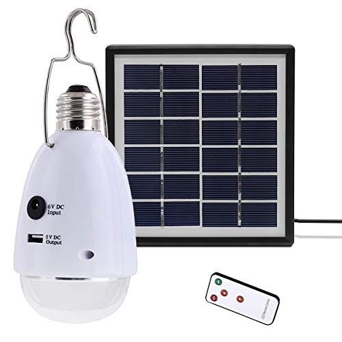 VAWAR 12 LED Solarlampe, dimmbare Solarleuchten mit Fernbedienung, Solarbetrieben E27 Notleuchte, DC 5V USB externe Akku Power Bank