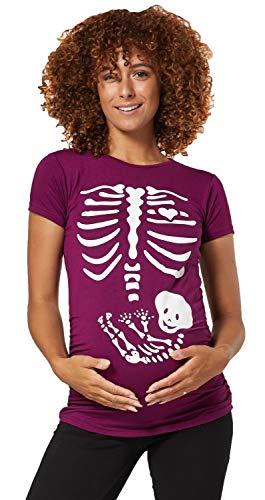 Happy Mama Damen Baby Bauch Skelett T-Shirt Jersey Oberteil für Schwangere. 085p (Pflaume, 44-46, 3XL)