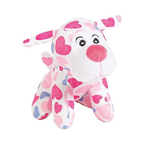 Fun Express Heart Print Plush Dog (1 dz) -Valentine's Day Gifts, Seasonal Decor or Exchanges