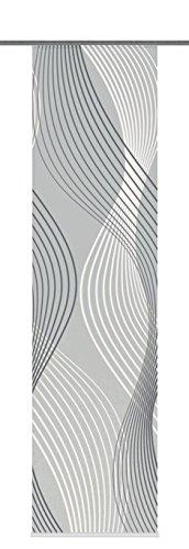 Home Fashion 87747-703 Schiebevorhang Digitaldruck Riverton Dekostoff mit Paneelwagen und Klemmleiste, 245 x 60 cm, grau