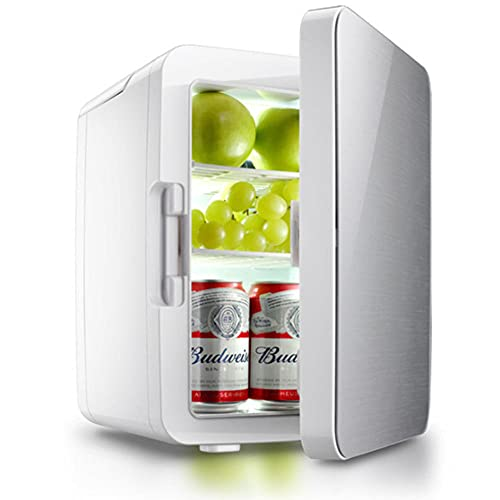 NOVHOME Mini Nevera Portatil, Refrigeradores de 10l Con Luz Led Refrigeradores 2 en 1 Con FuncióN de RefrigeracióN y CalefaccióN Congelador PequeñO para Auto Hogar Camping