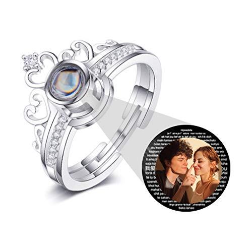 Anillo de foto personalizado versión grabado anillo de proyección anillo de texto 100 tipos de anillo te amo para madre(Plata A todo color Ajustable)